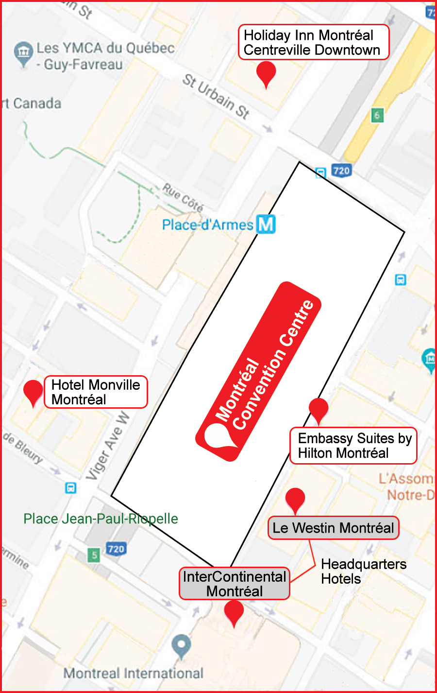 Downtown Montreal Map of Hotels and Convention Center